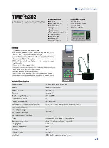 TIME5302 dynamic type portable hardness tester
