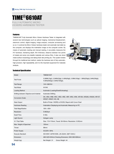 TIME6610AT Fully Automatic Micro Vickers Hardness Tester