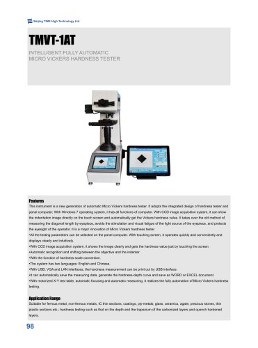 TMVT-1AT Intelligent Automatic Micro Vickers Hardness Tester