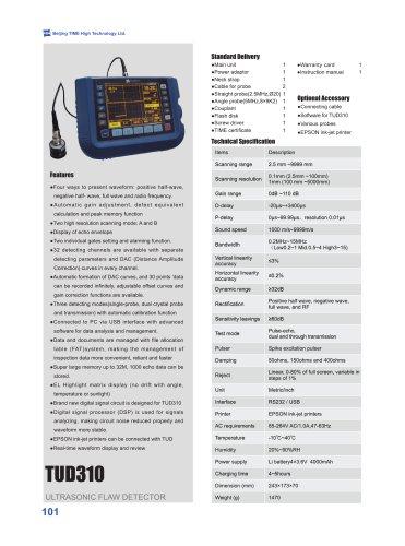 TUD310 Ultrasonic Flaw Detector