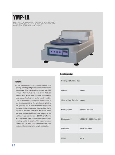 YMP-1A Sample Grinding and Polishing Machine