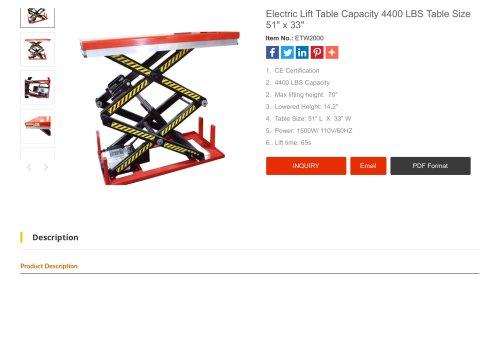 Electric Lift Table Capacity 4400 LBS Table Size 51 x 33-Santsai Machinery