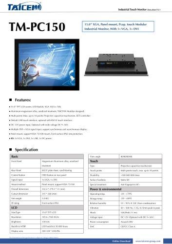 TAICENN/industrial monitor/TM-PC150