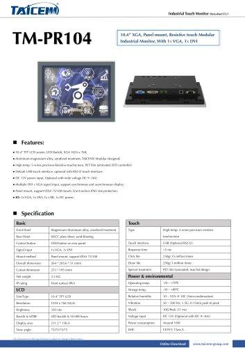 TAICENN/industrial monitor/TM-PR104