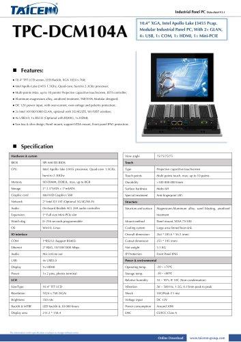 TAICENN/Panel PC/TPC-DCM104A1