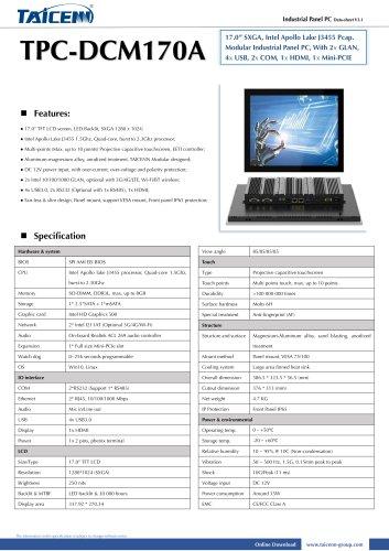 TAICENN/Panel PC/TPC-DCM170A