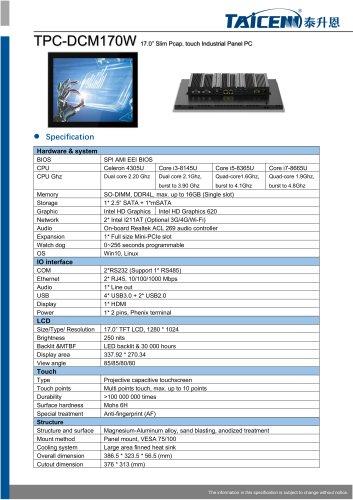 TAICENN/Panel PC/TPC-DCM170W