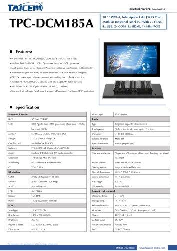 TAICENN/Panel PC/TPC-DCM185A1