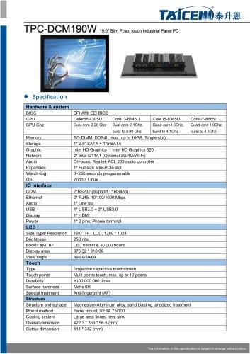 TAICENN/Panel PC/TPC-DCM190W