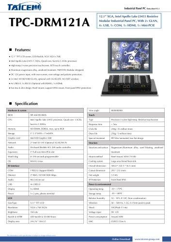 TAICENN/Panel PC/TPC-DRM121A1