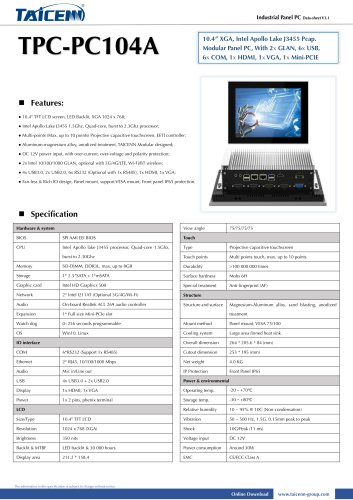 TAICENN/Panel PC/TPC-PC104A1