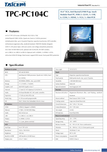 TAICENN/Panel PC/TPC-PC104C1