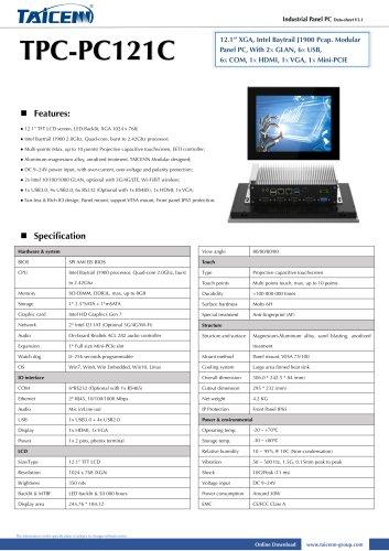 TAICENN/Panel PC/TPC-PC121C1