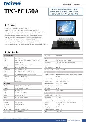 TAICENN/Panel PC/TPC-PC150A1