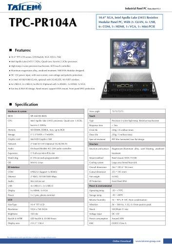 TAICENN/Panel PC/TPC-PR104A1
