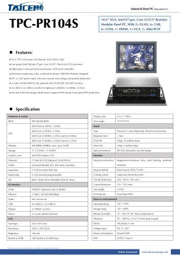 TAICENN/Panel PC/TPC-PR104S