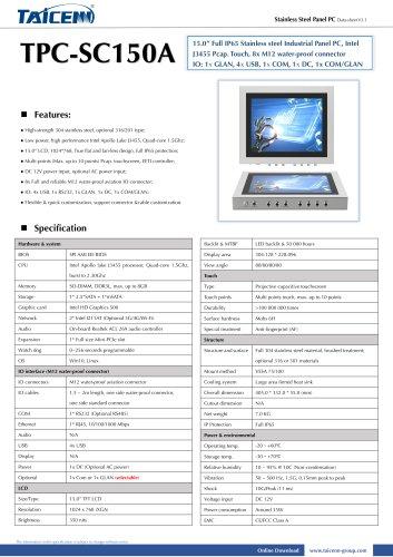 TAICENN/Panel PC/TPC-SC150A1