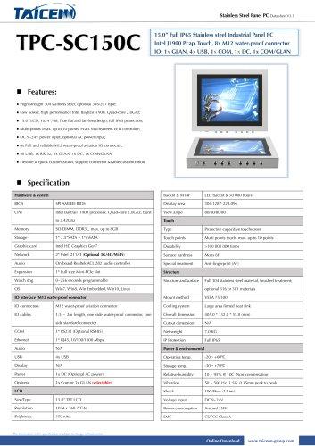 TAICENN/Panel PC/TPC-SC150C1