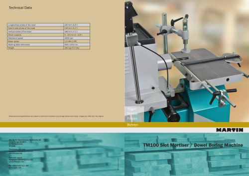 TM100 Slot Mortiser / Dowel Boring Machine