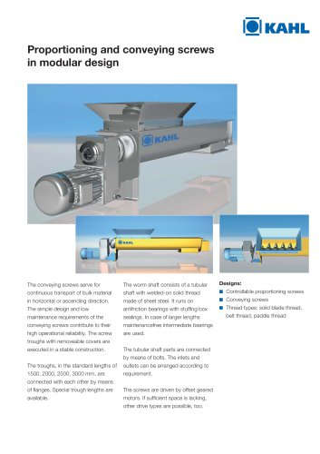 AK26 Proportioning and conveying screws in modular design
