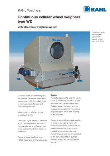 Continuous cellular wheel weighers type WZ