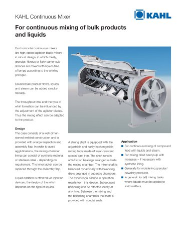 For continuous mixing of bulk products and liquids