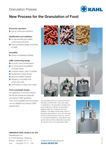Granulation Presses - New Process for the Granulation of Food