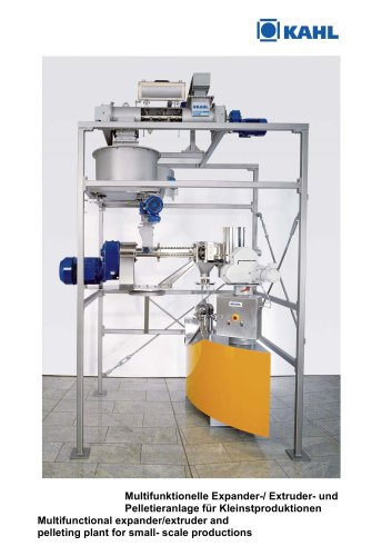 Small-Scale Plant for the production of pellets, expanded product, or crumbles