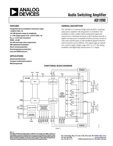 AD1990:  Class-D Audio Power Amplifier – 2 × 5W