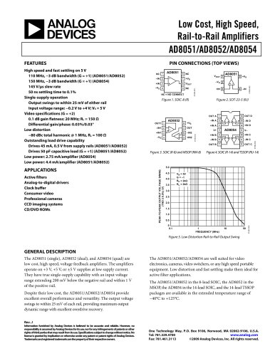AD8051:  Low Cost, High Speed, Single, Rail-to-Rail Amplifier