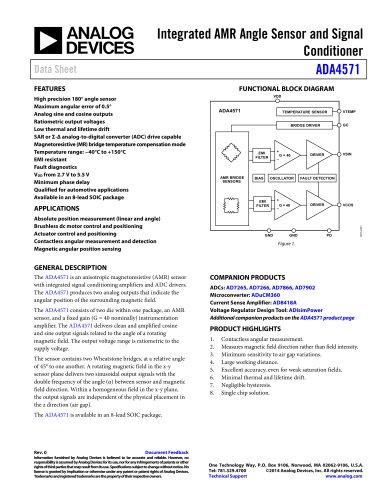 ADA4571: Integrated AMR Angle Sensor and Signal Conditioner Data Sheet