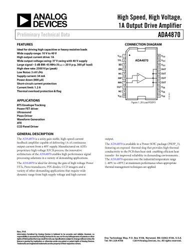 ADA4870: High Speed, High Voltage, 1A Output Drive Amplifier