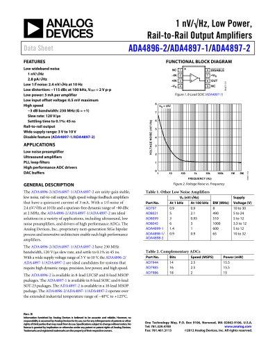 ADA4896-2/ADA4897-1/ADA4897-2: 1 nV/?Hz, Low Power, Rail-to-Rail Output Amplifiers