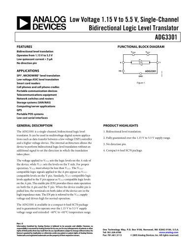 ADG3301: Low Voltage 1.15 V to 5.5 V, Single-Channel Bidirectional Logic Level Translator Data Sheet (Rev. 0)