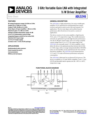 ADL5246: 3 GHz Variable Gain LNA with Integrated ½ W Driver Amplifier