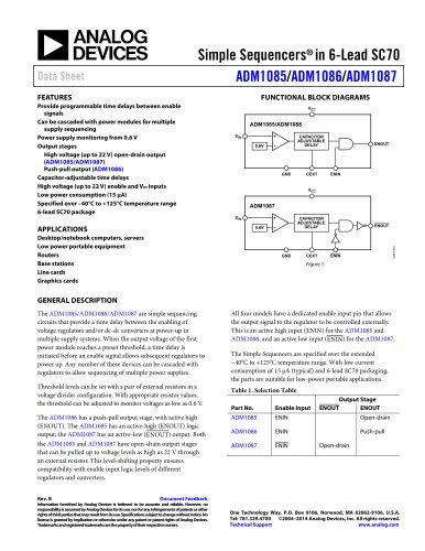 ADM1085/ADM1086/ADM1087: Simple Sequencers® in 6-Lead SC70