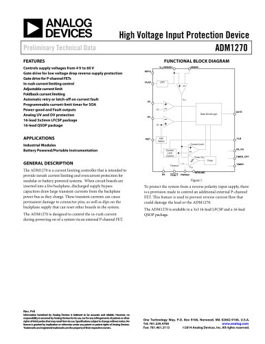 ADM1270:High Voltage Input Protection Device