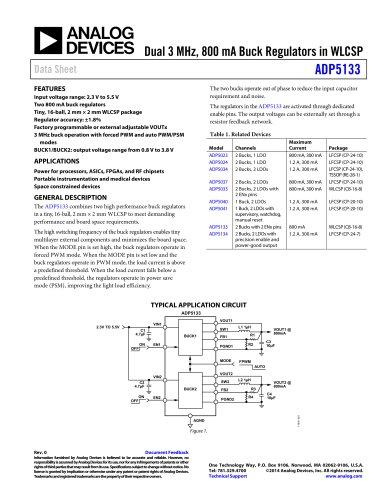 ADP5133: Dual 3 MHz, 800 mA Buck Regulators in WLCSP