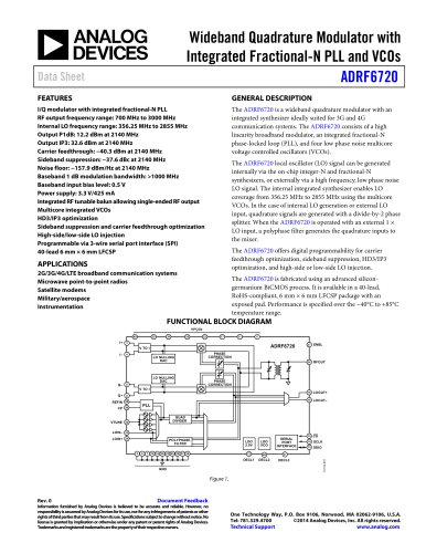 ADRF6720: Wideband Quadrature Modulator with Integrated Fractional-N PLL and VCOs
