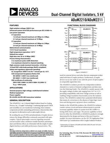 ADUM2210:  Dual-Channel Digital Isolators, 5 kV