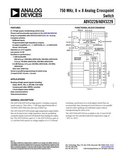 ADV3228/ADV3229: 750 MHz, 8 × 8 Analog Crosspoint Switch Data Sheet (Rev. 0)