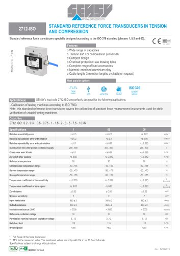 2712-ISO : STANDARD REFERENCE FORCE TRANSDUCER TENSION AND COMPRESSION