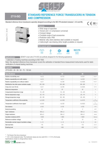 2715-ISO : STANDARD REFERENCE FORCE TRANSDUCERS IN TENSION AND COMPRESSION