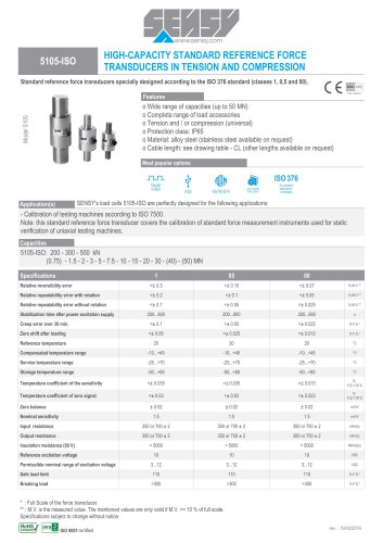5105-ISO : HIGH-CAPACITY STANDARD REFERENCE FORCE TRANSDUCERS IN TENSION AND COMPRESSION