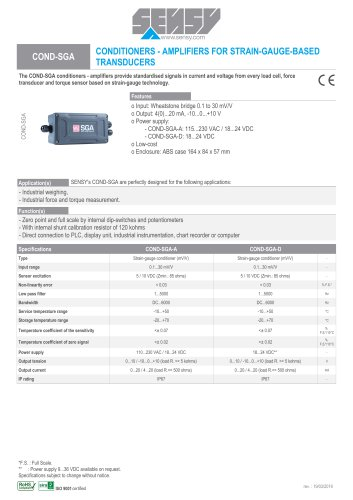COND-SGA : CONDITIONERS-AMPLIFIERS FOR STRAIN-GAUGE-BASED TRANDUCERS