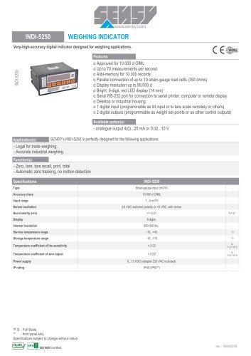 INDI-5250 : WEIGHING INDICATOR