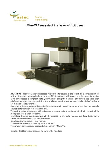 MicroXRF analysis of the leaves of fruit trees