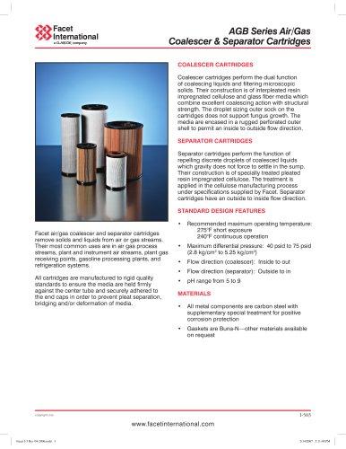 AGB Series air/gas coalescer & separator cartridges