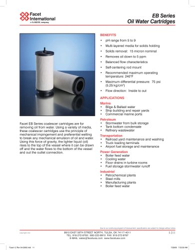 EB series oil/water cartridges