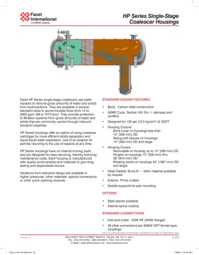 HP series single-stage coalescer housing